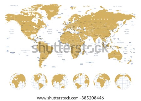 Golden World Map - borders, countries, cities and globes - illustration Highly detailed vector illustration of world map: - land contours - country and land names - city names - water object names   - stock vector