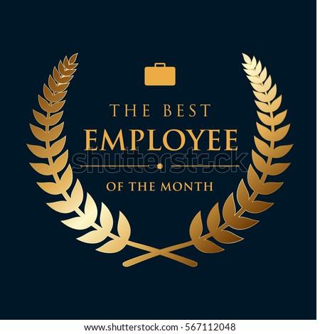 Golden Wreath Badge Best Employee Month Stock Vector