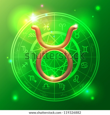 Golden Zodiac decorative vector background - stock vector