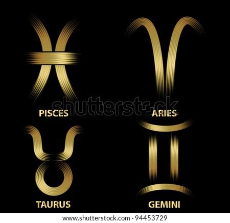 Golden zodiac signs. - stock vector