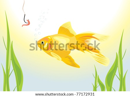 stock-vector-goldfish-and-worm-on-a-fish