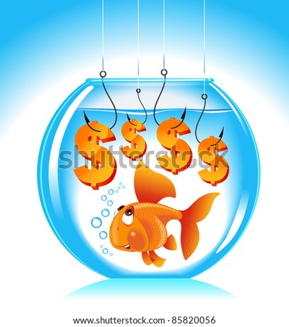 goldfish aquarium dollar.the concept of choice.the concept of employment - stock vector