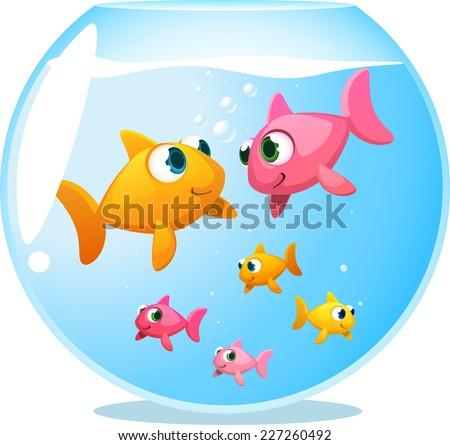 Goldfish happy family, with mother fish and father fish staring at each other and 4 baby fish playing under them vector illustration.