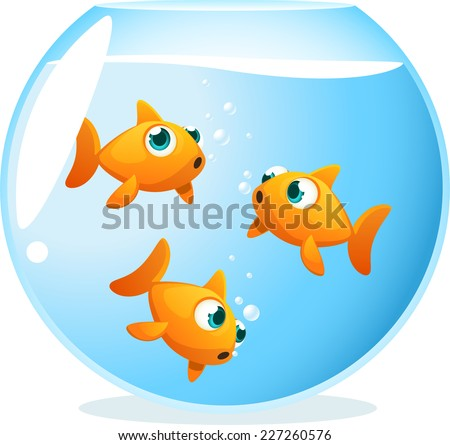 Goldfish in a bowl swimming around.