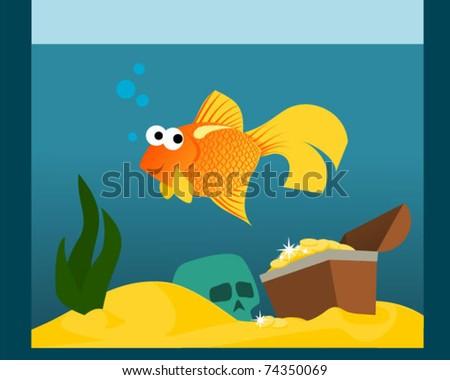 Goldfish in aquarium with treasures - stock vector