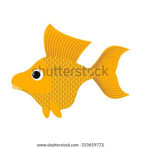 Goldfish on white background. Fabulous fish fulfills desires. Yellow Sea animal - stock vector