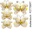 Goldish delicate butterflies isolated on white background - stock vector