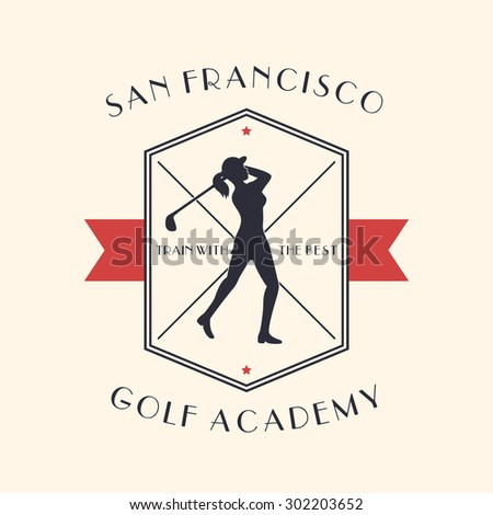 Golf Academy vintage emblem with girl golf player swinging golf club, vector illustration, eps10, easy to edit - stock vector