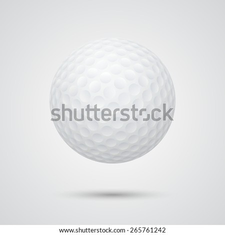 Golf background - realistic golf ball with shadow on a gray background. Vector EPS10 illustration.  - stock vector