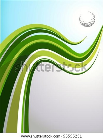 Golf background with green wave and a ball - stock vector