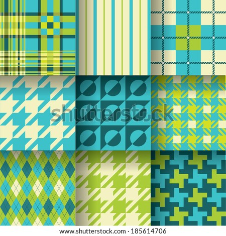 Golf backgrounds. Seamless pattern background with green & blue colors. Pattern Swatches made with Global Colors - quick, simple editing of color. EPS-10. Vector illustration_1 - stock vector