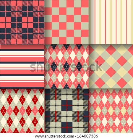 Golf backgrounds. Seamless pattern background with red color. Vector illustration. Pattern Swatches made with Global Colors - quick, simple editing of color - stock vector