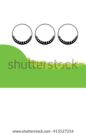 Golf ball and green grass background with white area for copy space. Vector illustration. - stock vector