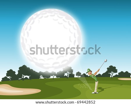 golf ball coming. golfer swinging after hitting golf ball - stock vector