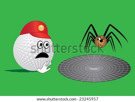 Golf ball end spider (humor)