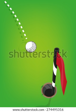 Golf ball goes towards a hole with flagstick. Editable EPS10 vector. - stock vector