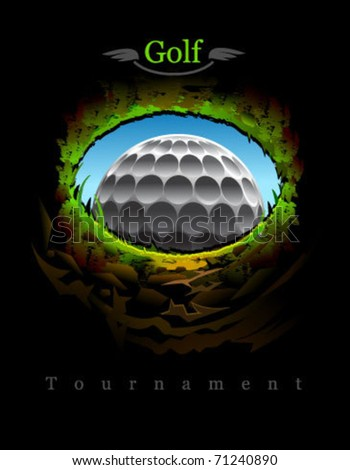 golf ball going to the 18th hole. View from inside. - stock vector