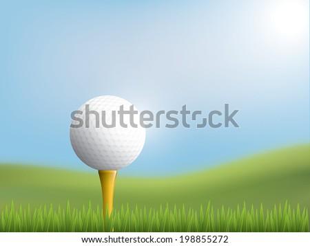 Golf ball in grass - stock vector