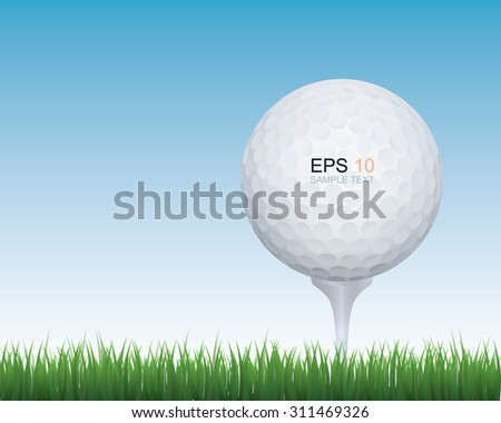 Golf ball in green grass of golf course with blue sky. - stock vector