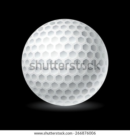 Golf ball isolated on black - stock vector