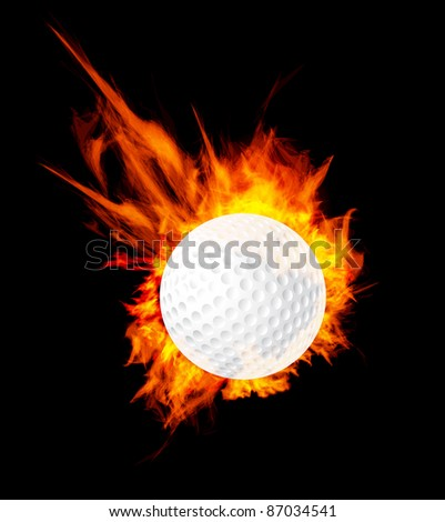 Golf ball on fire. Vector illustration - stock vector