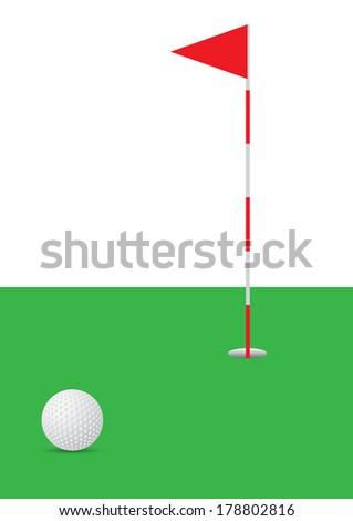 golf ball on green fields with hole vector illustration - stock vector