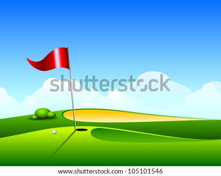 Golf ball on lip near bunker of lovely beautiful golf course with flag. EPS 10. - stock vector