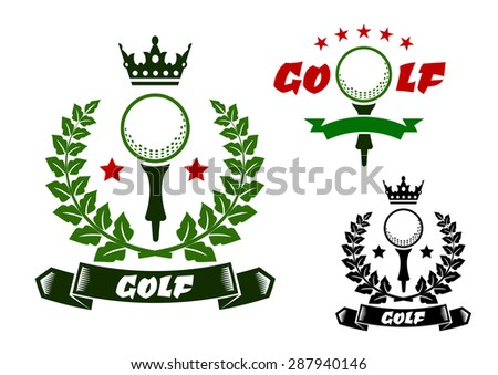 Golf ball on tee for sporting emblems or badges design, framed by laurel wreath and ribbon banners with stars and crown on the tops in green, red and black colors  - stock vector