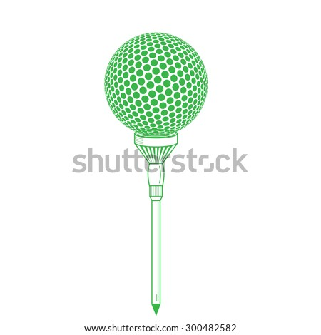 Golf ball on tee realistic vector illustration. Vector golf ball isolated on white. Golf tee of Engraving style with ball. Colorful tee and golf ball - stock vector