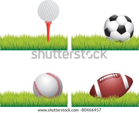 Golf ball on tee, soccer ball, baseball, and football lying on grass - stock vector