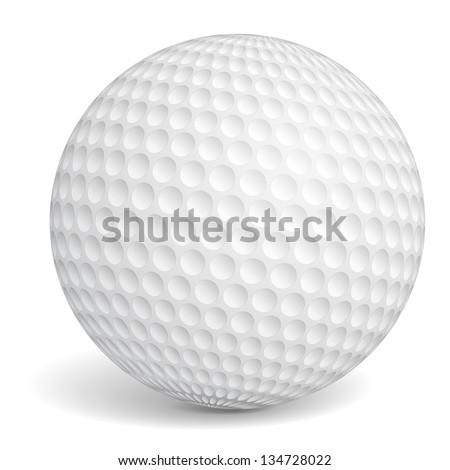 Golf ball on white background, vector eps10 illustration - stock vector