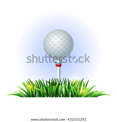 Golf ball on white tee and green grass. Realistic vector illustration. Golf design. Sport background - stock vector