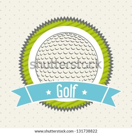 golf ball over beige background. vector illustration - stock vector
