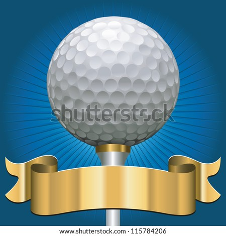 golf ball with award scroll banner in gold - stock vector
