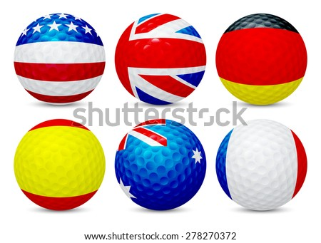 Golf ball with flag of France, USA, Australia, UK, Spain and Germany, isolated on white background. Vector EPS10 illustration.  - stock vector