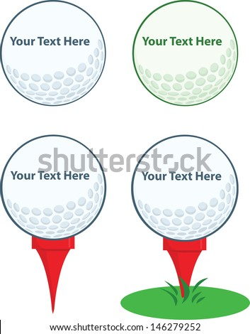 Golf Ball With Tee. Vector Collection - stock vector