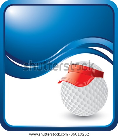 golf ball with visor on blue wave background - stock vector