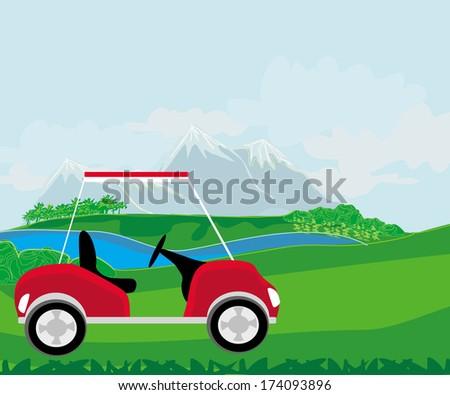 Golf cart at the beautiful golf course  - stock vector