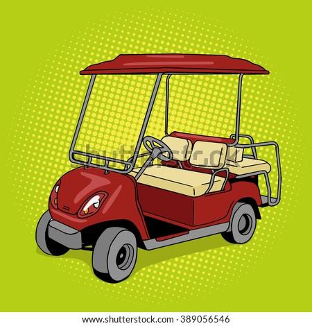 Golf cart pop art style vector illustration. Hand drawn doodle.  Comic book style imitation. Vintage retro style. Conceptual illustration - stock vector