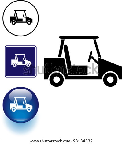 golf cart symbol sign and button - stock vector
