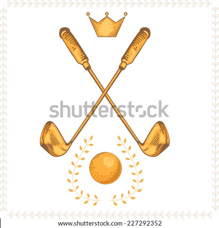 Golf club and ball isolated on white background vector illustration. Golf logo. Gold object. Garland - stock vector