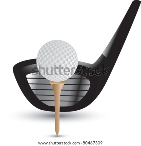 Golf club and ball on tee on white background - stock vector