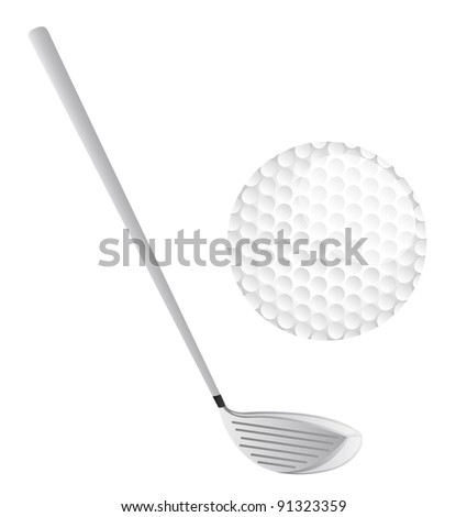 golf club and golf ball isolated over white background. vector - stock vector