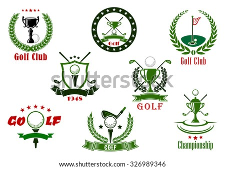 Golf club and tournament sport icons in red and green colors with game items - stock vector