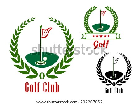 Golf club badge with ball near to hole on green field  and flagsticks encircled by laurel wreaths and ribbon banner