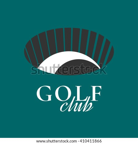 Golf club, course vector logo, label, icon, sign. Graphic symbol, design element with golf ball in the hole - stock vector