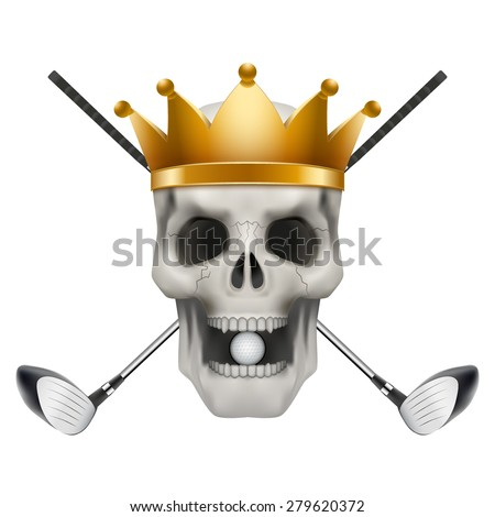 Golf club or team. Skull with crown and golf clubs. Vector Illustration isolated on background. - stock vector