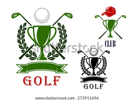 Golf club or tournament emblem and badges design templates with trophy cups, crossed clubs, balls, laurel wreath and blank ribbon banner and the second variant with peaked cap on the top - stock vector