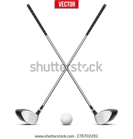 Golf clubs and ball. Sport symbol. Vector Illustration isolated on white background - stock vector