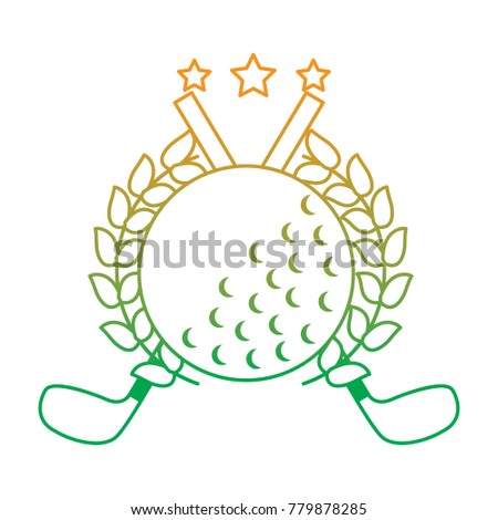 Golf Clubs Cross And Ball With Laurel Stars Decoration Emblem